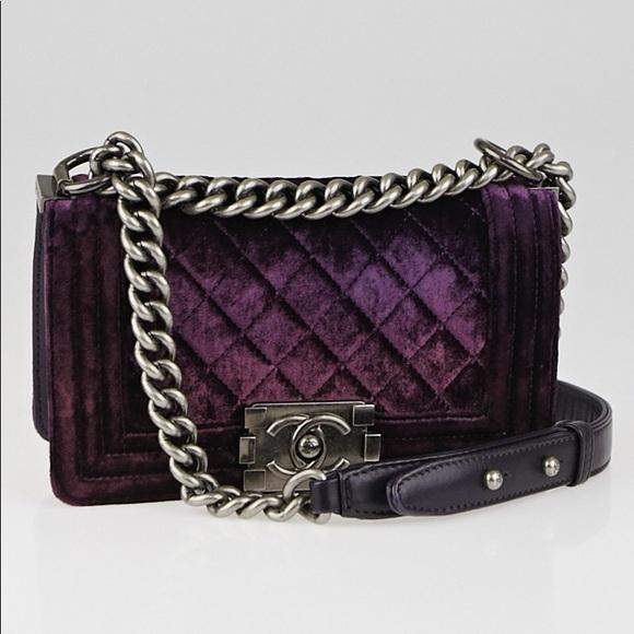 f2a6aec50b4910 CHANEL Bags | Soldauth Purple Velvet Small Boy Crossbody | Poshmark